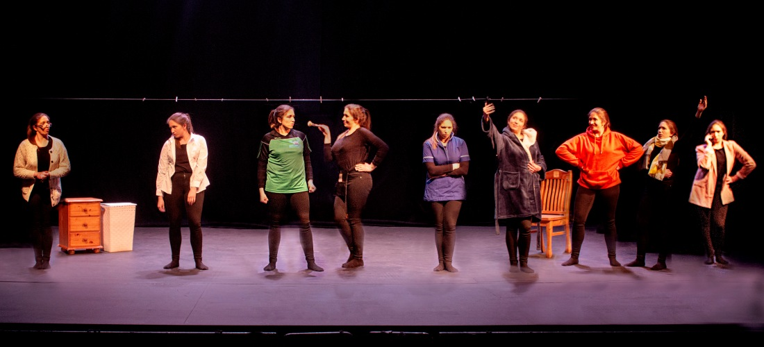 Theatre photography captures Hazel Doolan as all of the characters in Uniform, her one woman show.